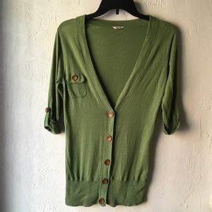 Fossil Sweaters - Fossil Medium Green Button-up Cardigan Flawed